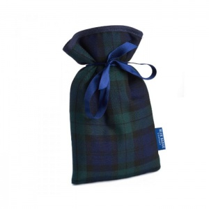 Blue Badge Company Mini Hot Water Bottle with a Blackwatch Tartan Soft Cover