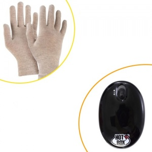 HotRox Handwarmer with USB Charger and Raynaud's Disease Gloves Bundle