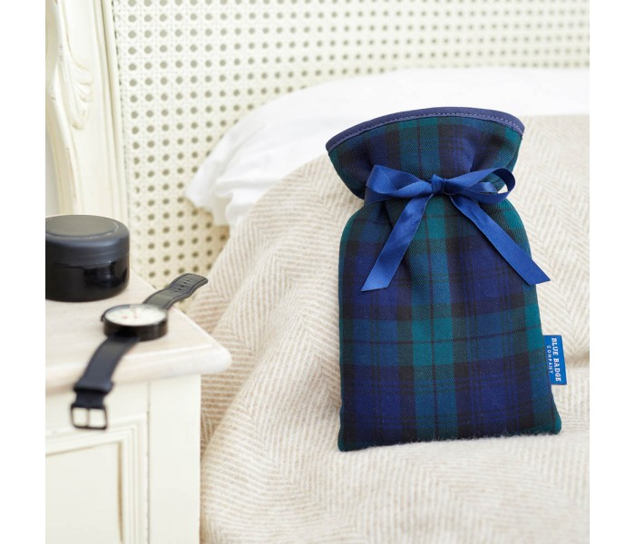 Fight Raynaud's Disease with the Blue Badge Company Mini Hot Water Bottle with a Blackwatch Tartan Soft Cover