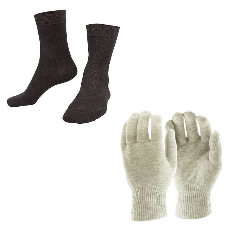 Raynaud's Disease Silver Gloves and Silver Socks Bundle