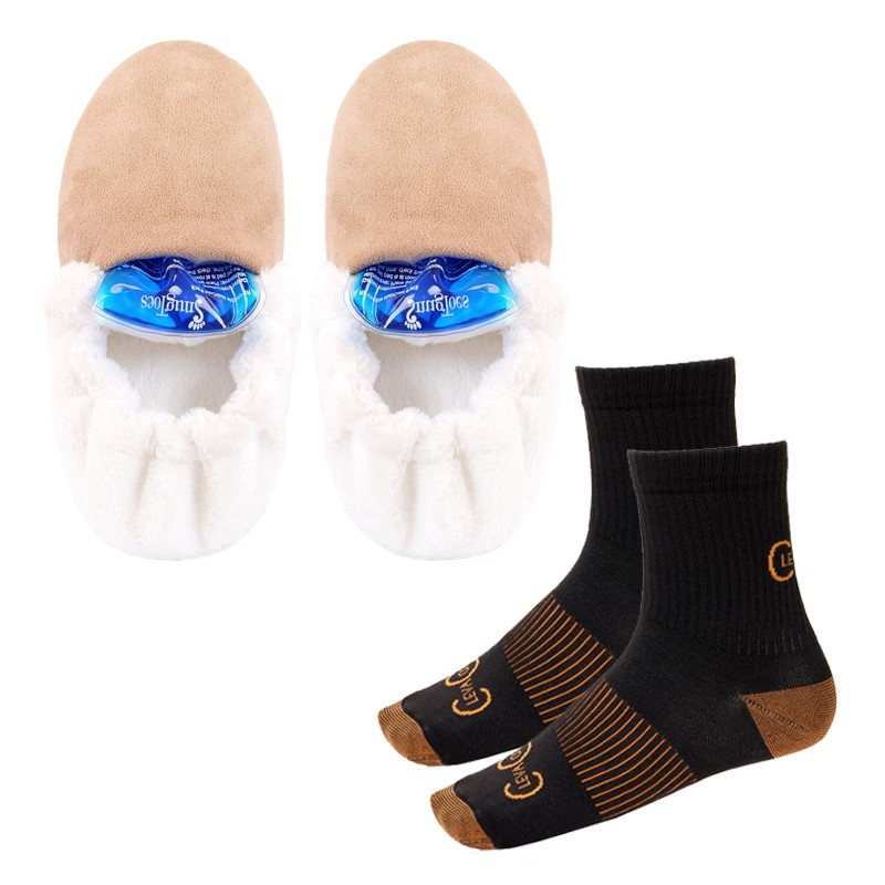 Heated Slippers and Warm Copper Socks Cosy Feet Pack