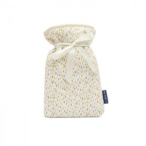 Blue Badge Company Mini Hot Water Bottle with a Dash-Patterned Soft Cover