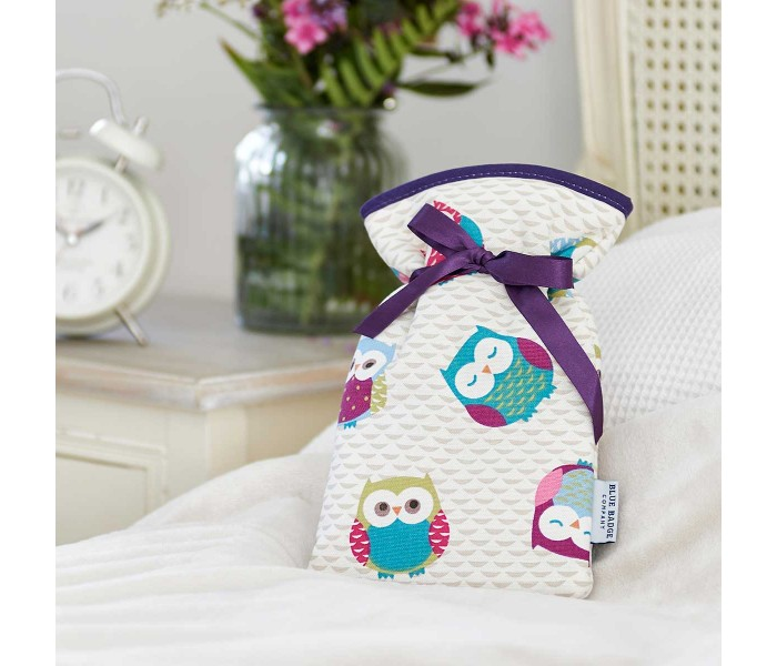 Relieve Raynaud's Disease with the Blue Badge Company Mini Hot Water Bottle with an Owl-Patterned Soft Cover