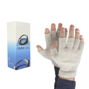 Omni Ol Hand Warming Balm and Raynaud's Disease Fingerless Silver Gloves Bundle
