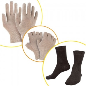 Raynaud's Disease Silver Gloves & Silver Socks & Silver Fingerless Gloves Bundle